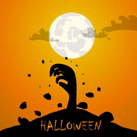 hand painting: Vector : Zombie hand and moon halloween background