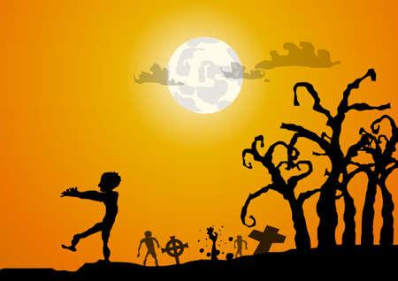 Vector: Zombies und gaveyard Halloween-Hintergrund
