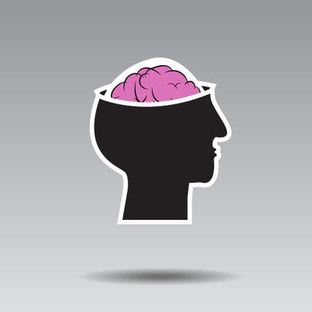 벡터 : 회색 배경에 두뇌와 머리 로고 일러스트