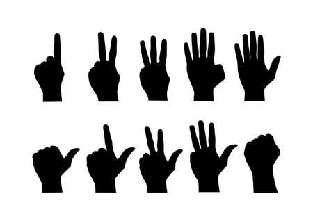 Vector : Counting hands from zero to nine on white background