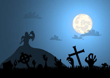 Vector : Zombie hands graveyard and death with halloween background  イラスト・ベクター素材