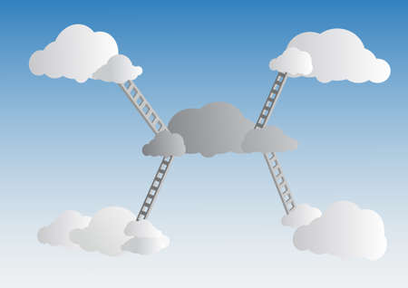 corporate ladder: Vector : Ladders to cloud on sky