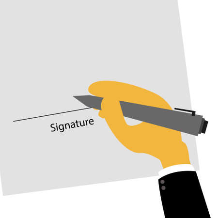 signing: Vector : Business man hand signing contract with signature