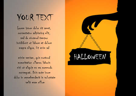 necropolis: Vector : Zombies and sign with halloween background