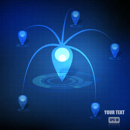 map pointers: Vector : Map pointers network on business blue background