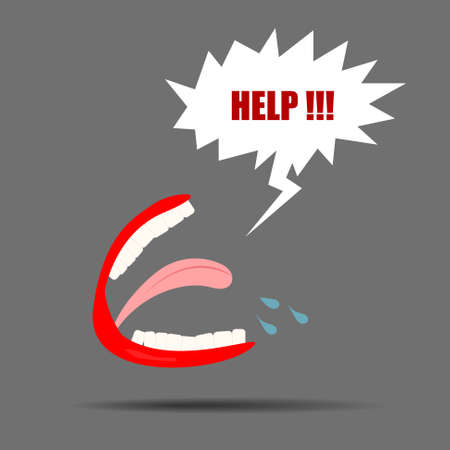 help: Vector : Mouth with help in speech bubble Illustration