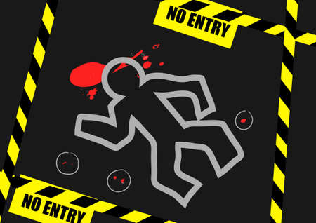 Chalk outline of dead body blood and no entry label on a road Ilustrace