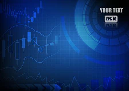 벡터 : 막대 차트 및 파란색 비즈니스 배경에 그래프 일러스트