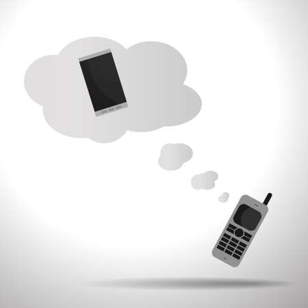 old phone: Vector : Old mobile phone dreaming of smartphone