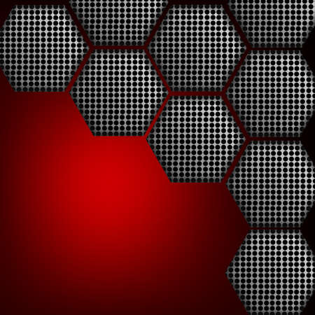 fire wire: Metal grill in hexagons on red surface