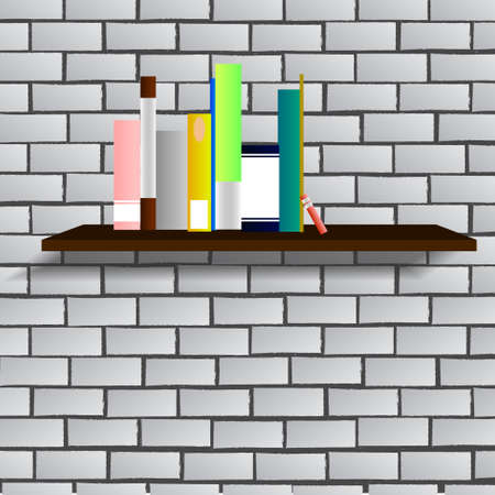 wall decor: Vector : Books on shelf with brick wall background Illustration