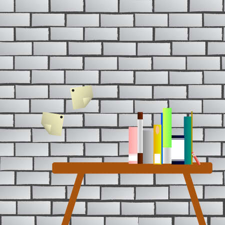 postit: Vector : Books on table and postit with brick wall background