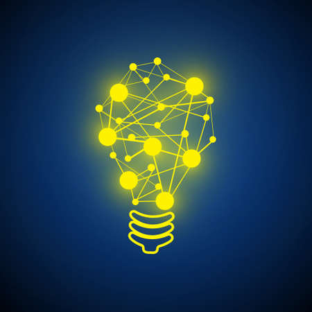Vector : Lightbulb and circle network circle on blue background  イラスト・ベクター素材