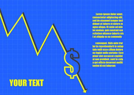 line graph: Vector : Dollar symbol on line chart graph