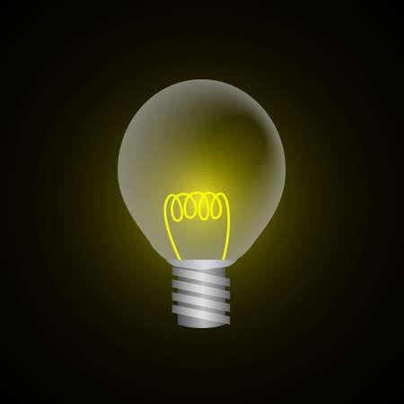 tungsten: Vector : Lightbulb on black background