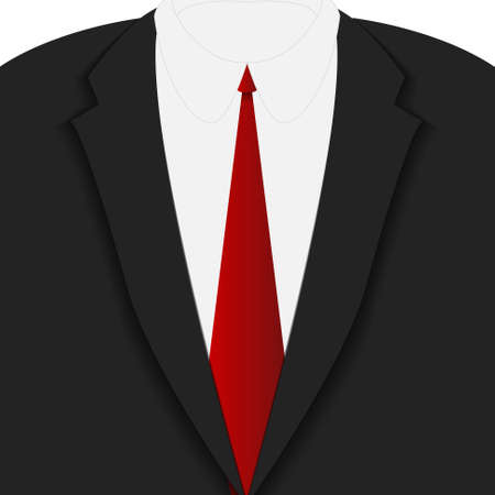 red tie: Vector : Closeup black suit and red tie Illustration