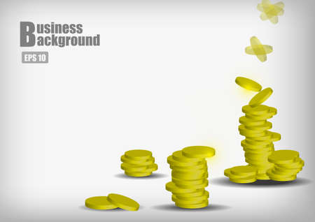 currency symbols: Vector : Stack of gold coins drop business background