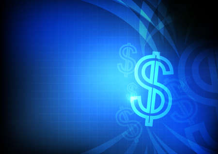 currency symbol: Vector : Dollars symbol with grid and blue background