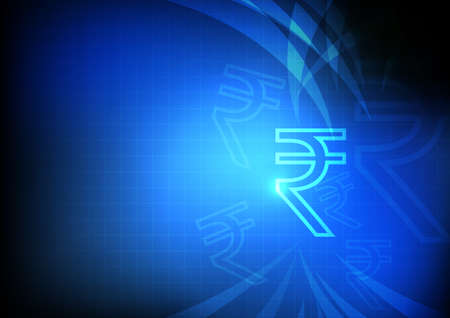 money icons: Vector : Indian Rupee symbol with grid and blue background Illustration