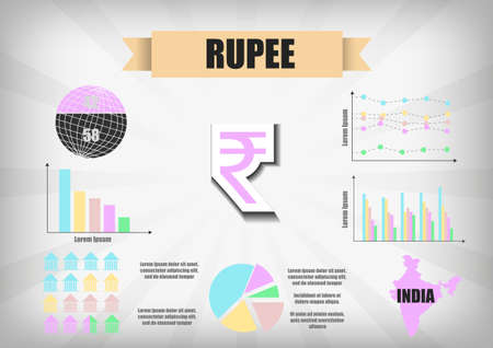rupee: Vector : Indian Rupee infographic chart