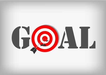 회색 배경에 양궁 목표와 목표 : 벡터 일러스트
