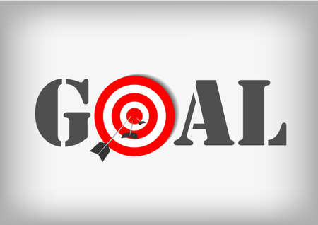 achieve goal: Vector : Archery targets and goal on gray background