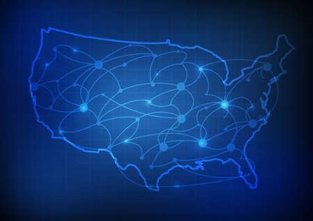 Vector: USA mapa s síťové linky a mřížky modrém pozadí Ilustrace