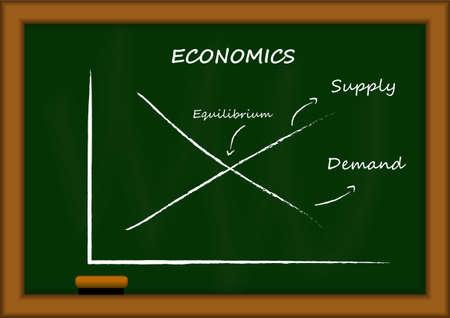 demand: Vector : Demand and supply Economics graph on blackboard