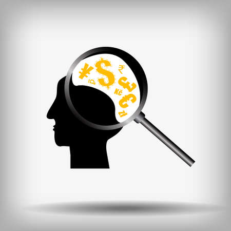 Vector : Currency symbol in head and magnifier on gray background Illustration