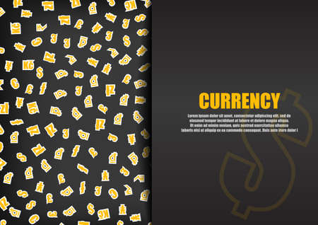 currency symbol: Vector : Currency symbol on black background Illustration