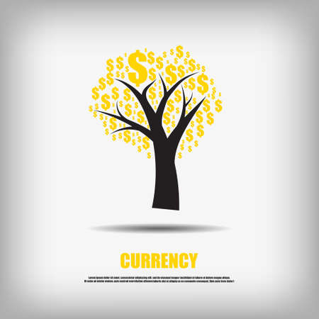 currency symbol: Vector : Dollars currency symbol tree business background
