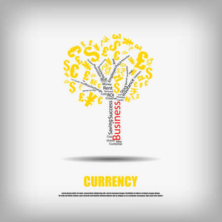 business word: Vector : Currency symbol tree and business word background