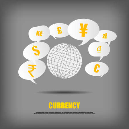 currency symbol: Vector : World and currency symbol in bubble quotes Illustration