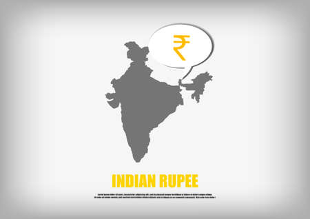 map of india: Vector : India map and Indian Rupee symbol in bubble quote Illustration