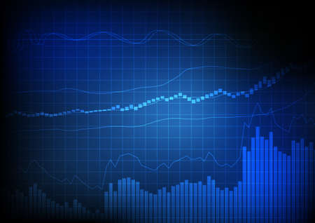Vector : Business bar chart and line chart on grid blue background