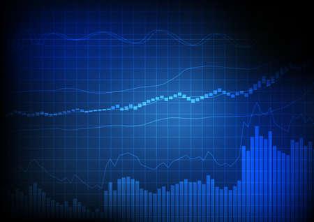 grafica de barras: Vector: Negocios gráfico de barras y gráfico de líneas en la rejilla de fondo azul