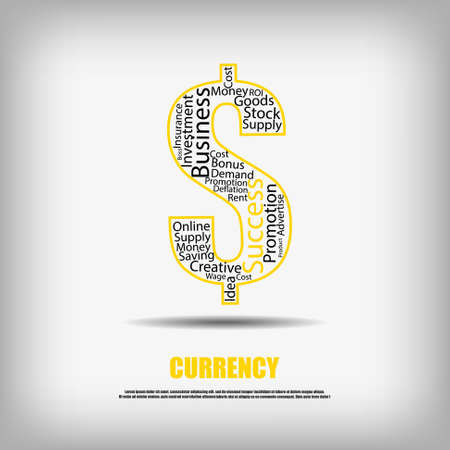 business words: Vector : Currency symbol and business words inside Illustration