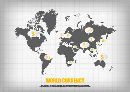 yuan: Vector : World map and currency in bubble quotes for each country