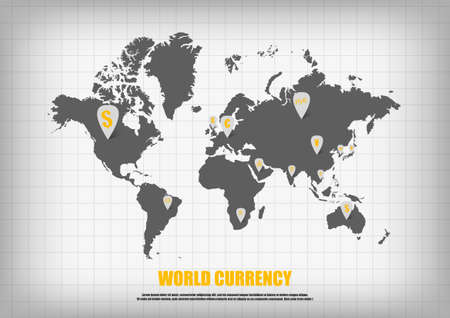 Vector world map and currency in bubble quotes for each country vector currency symbol in map pointers on world map vector gumiabroncs Images