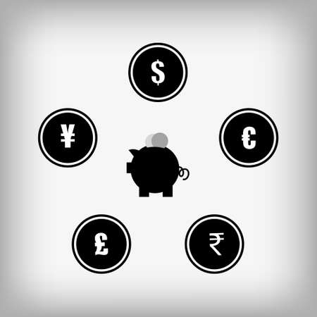 currency symbol: Vector : Piggy bank and currency symbol in circle Illustration