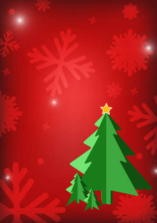 ice crystal: Vector : Christmas tree and ice crystal on red background