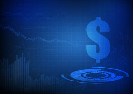 Vector : Currency symbol with line and bar chart on blue grid background Illustration