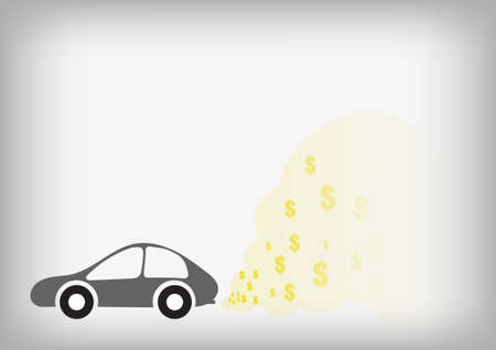 greenhouse gas: Vector : Car and dollars symbol in smoke