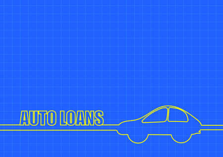 loans: Vector : Auto loans and car line on blue background