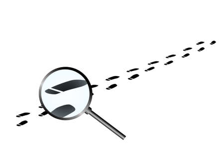 Vector : Shoe paint tracks and magnifying glass