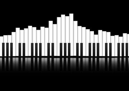 ベクトル: ピアノの鍵盤のイコライザー概念の背景