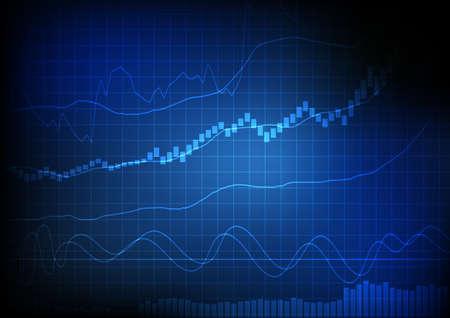 벡터 : 블루 그리드 배경에 라인 및 막대 차트