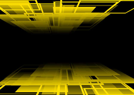 yellow line: Vector : Abstract perspective yellow line and square on black background