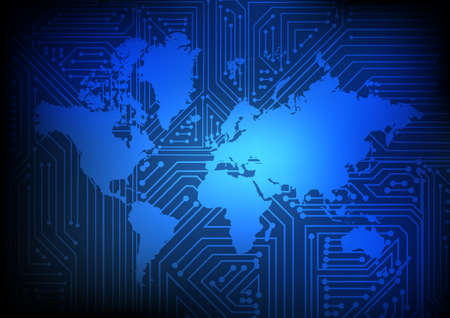 Vector : Electronic circuit on world map on blue background