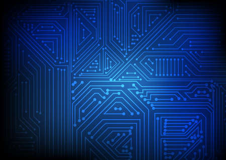 Vector : Abstract electronic circuit on blue background Illustration